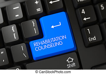 Keyboard with Blue Key - Rehabilitation Counseling. 3d.