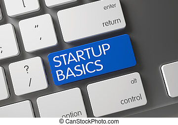 Keyboard with Blue Key - Startup Basics. 3D.