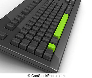 keyboard with bright green exclamation mark