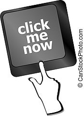 Keyboard with click me now button, internet concept