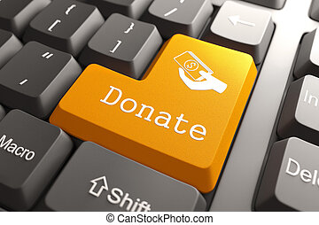 Keyboard with Donate Button. - Orange Donate Button on...