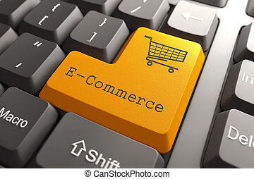 Keyboard with E-Commerce Button. - Orange E-Commerce Button ...