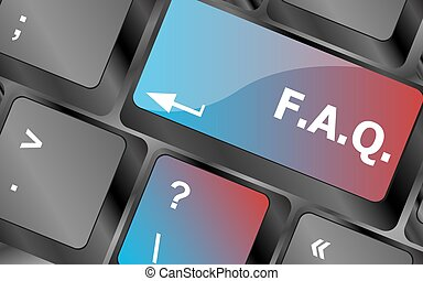 keyboard with faq button - business concept . keyboard keys. vector illustration