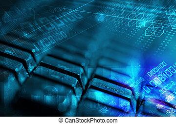 Keyboard with glowing programming codes - Computer keyboard...