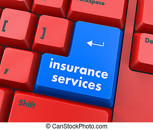 Keyboard with insurance services button, internet concept, raster