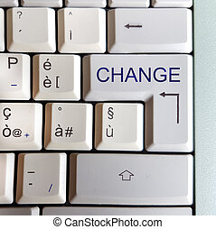 keyboard with key with the answer written: change