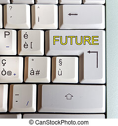 keyboard with key with the answer written: future