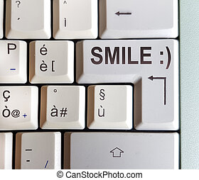 keyboard with key with the answer written: smile