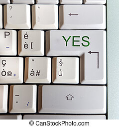 keyboard with key with the answer written: yes