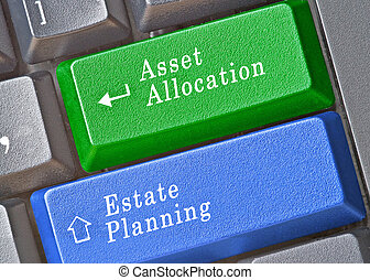 Keyboard with keys for asset allocation and estate planning