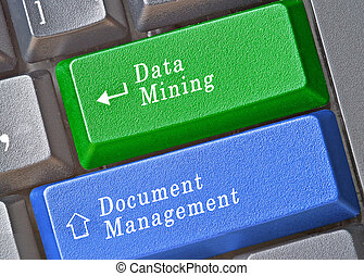 Keyboard with keys for data mining and document management