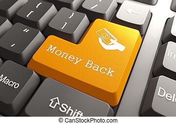 Money Back - Orange Button on Computer Keyboard. Internet Concept.