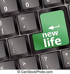 keyboard with new life words vector illustration