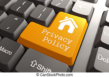 Keyboard with Privacy Policy Button. - Orange Privacy Policy...