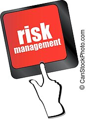 Keyboard with risk management button, internet concept vector