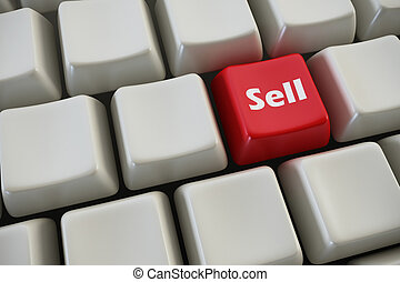 """keyboard with """"sell"""" button 3d rendering"""