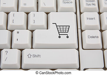 Keyboard with shopping cart symbol on a button