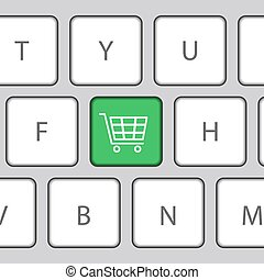 Keyboard with Shopping cart. Vector Illustration