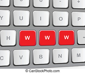 """Keyboard with three red buttons """"w"""""""