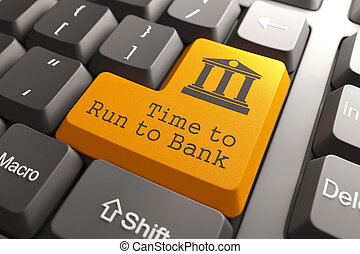 Keyboard with Time For Banking Button. - Orange Time to Run...