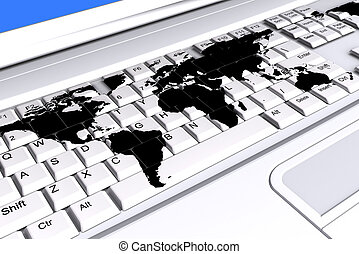 Keyboard world. - Laptop keyboard with a world map on the...