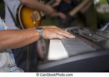 keyboardist, spielende , elektrisches klavier