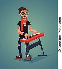 keyboardist, zeichen, spielen, music., vektor, wohnung,...