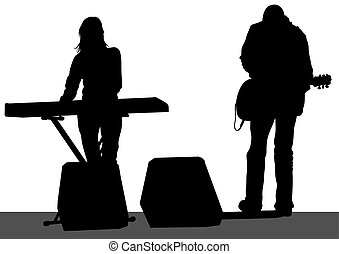 Keyboards and guitarist - Pianist and singer of rock band on...
