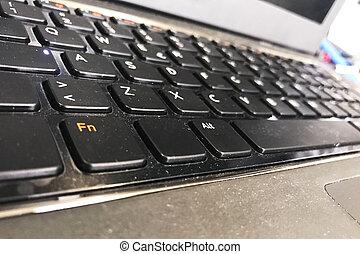 keybord., computador portatil, concepto, computadora,...