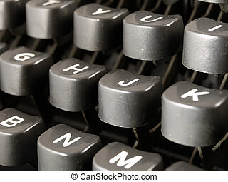 Keybord of a vintage typewriter closeup