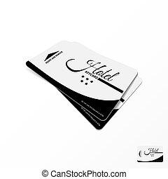 keycard, hotel, dos, realista, tabla, blanco