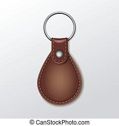 keychain, キー, 革, 隔離された, ラウンド, ベクトル, 背景, ブランク, 白いリング