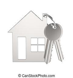 keychain, 形態, 金, 家, イラスト, キー, 小さい, 銀, 3d