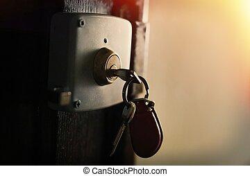 keychain, 由于, 鑰匙, 在房子, 鎖