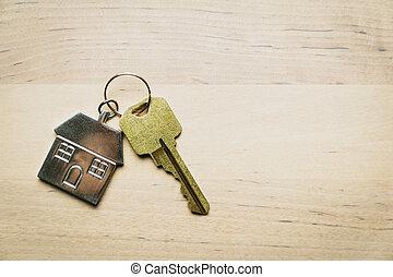 keychain, casa, fundo, madeira, tecla