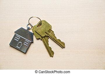 keychain, casa, fundo, madeira, teclas