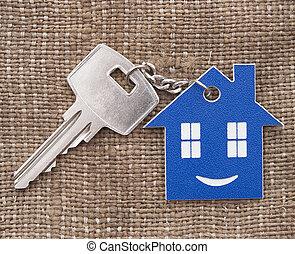 keychain, figura, casa, su, chiave, chiudere