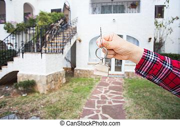 keychain, format, stämm, hus, holdingen, främre del, färsk, home.