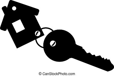 Black keychain house with key. Isolated on white background. Vector illustration