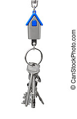 Keychain with figure of blue house