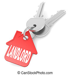 Keychain with landlord word image with hi-res rendered...