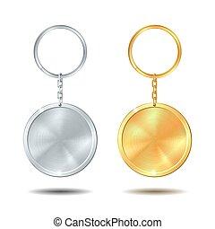 keychains, gabarit, argent, ensemble, métal, cercle, doré