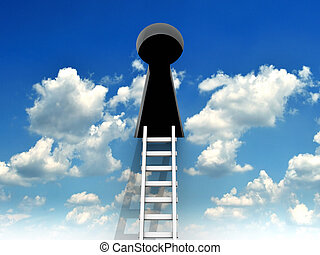 Keyhole and ladder - Ladder leading to a keyhole on the sky...