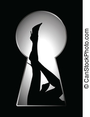 Keyhole - Silhouette of legs of a woman seen through a key...