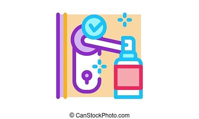 keyhole disinfection Icon Animation. color keyhole disinfection animated icon on white background