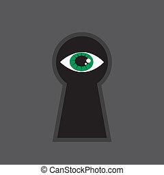 Eye looking through large keyhole