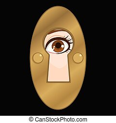 Keyhole Eye Spy - Keyhole peeking female eye looking mystery...