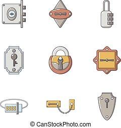 Keyhole icons set, flat style - Keyhole icons set. Flat set...