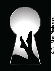 Keyhole - Silhouette of woman legs seen through a key hole