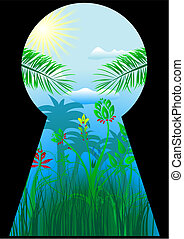 Keyhole in the tropical world - Keyhole in tropics with palm...